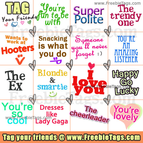 Cute Facebook tags to tag your friends on Facebook