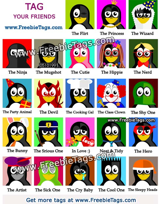 Tag your friends on facebook as cute penguin characters