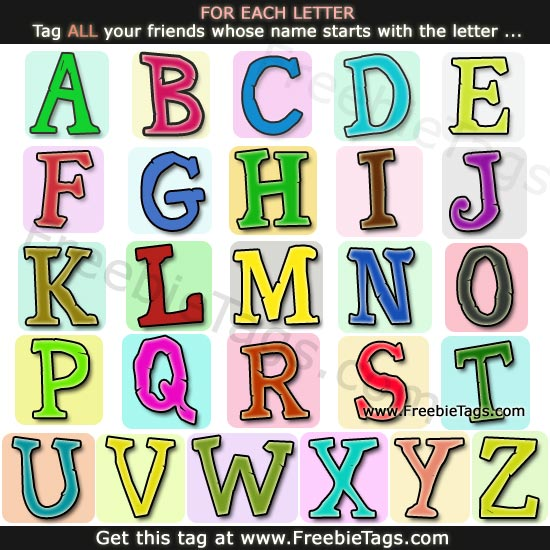 Fun Facebook tag - Tag your friends whose name starts with alphabet or letter