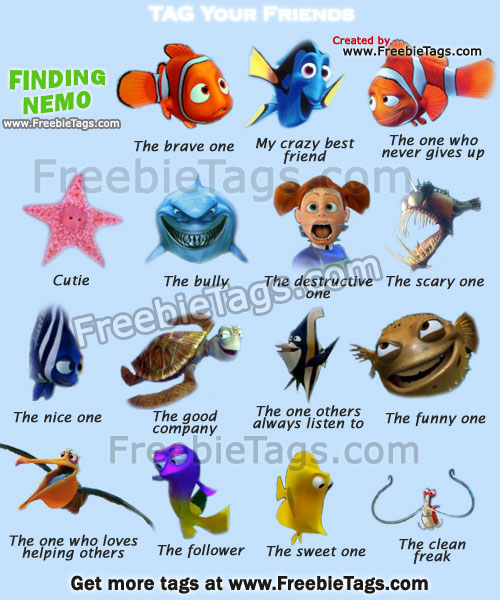 Tag your friends with Finding Nemo cartoon characters Facebook tags